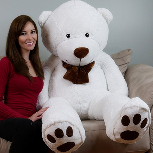 Yesbears Brand 5ft. Giant Teddy Bear (White Color Microfiber Bow tie) (Big Bear Chair compare prices)