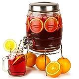 Barrel Beverage Dispenser with Stand 5ltr | bar@drinkstuff Drinks Dispenser Barrel Drinks Dispenser Glass Drinks Dispenser Mason Jar Drinks Dispenser
