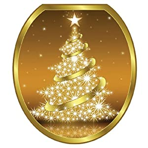 #!Cheap Toilet Tattoos TT-X609-R Gold Christmas Tree Decorative Applique For Toilet Lid, Round