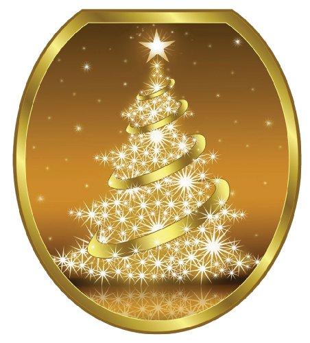 Toilet Tattoos TT-X609-R Gold Christmas Tree Decorative Applique For Toilet Lid,  Round