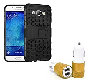 Droit Shock Proof Protective Bumper back case with Flip Kick Stand for Samsung A8 + Car Charger With 2 Fast Charging USB Ports by Droit Store.