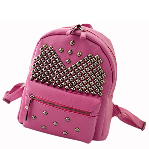 BEIER discount duty free BEIER® New PU leather Student Backpack Personality Rivet Fashion bags 2015-SPRING43 (rose)