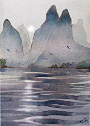 Guilin Sunrise, Archival Print of Watercolor, Misty Mountains on the Li River in China, 12 X 18 Inches