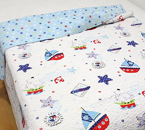 Sailboat Baby Bedding Coverlet Quilt Bedspread Throw Blanket for Kid's Girl & Boys Bed Gift 100% Natural Cotton Twin (S, sailboat) (Quilt For Stroller compare prices)