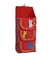 Baby Almirah Hanging Three Cabinet For Kids (Red)