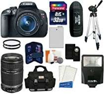 Canon EOS Rebel T5i D-SLR Camera with EF-S 18-55mm f/3.5-5.6 IS STM Lens + Canon EF-S 55-250mm f/4-5.6 IS II Lens + 32GB Kit -- Includes: Large Camera and Lens Case + Transcend 32 GB Class 10 SDHC Card + Card Reader + Extra Battery + Shutter Release + Zeikos DS12 Flash with Bracket + 50-inch Tripod + Screen Protector + Cleaning Kit