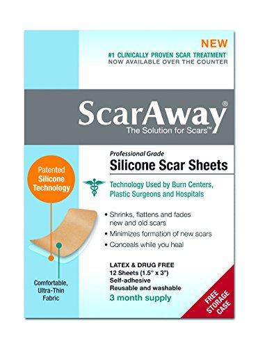ScarAway Professional Grade Silicone Scar Treatment Sheets – Full Dr. Recommended 12 Week Supply 12 Multi-Use Patches with Free Storage Case Included image