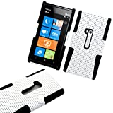 myLife (TM) Shocking White and Panther Black Perforated Mesh Series (2 Layer Neo Hybrid) Slim Armor Case for the Nokia Lumia 920 920.2 920T and 920 4G Camera Smartphone by Microsoft (External Rubberized Hard Shell Mesh Piece + Internal Soft Silicone Flexible Gel)