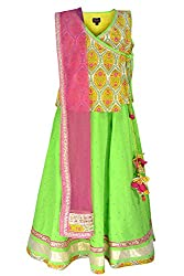 COTTON GREEN AND YELLOW LENGHA CHOLI