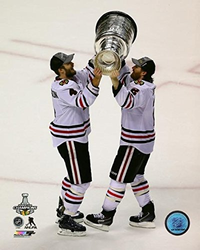 Niklas Hjalmarsson & Duncan Keith with the Stanley Cup Game 6 of the 2013 NHL Stanley Cup Finals Photo Print (8 x 10)
