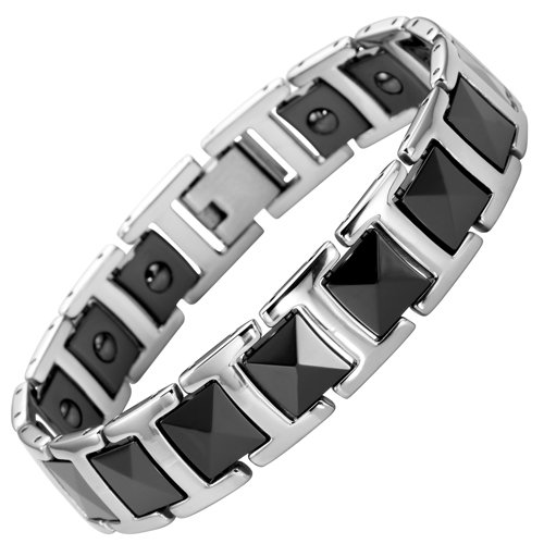 New Mens Willis Judd Stainless Steel and Black Ceramic Magnetic Bracelet In Free Black Gift Box And Free Link Removal Tool