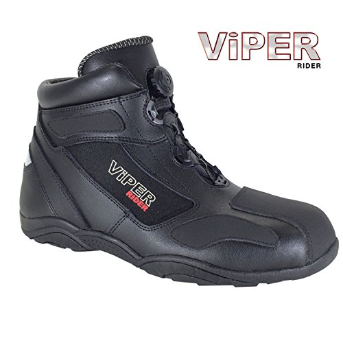 Stivale da moto: moto stivali VIPER 456, stivale sportivo, scarponcini, stivali touring, stivaletti, stivali motociclismo (Nero) (EU 42)