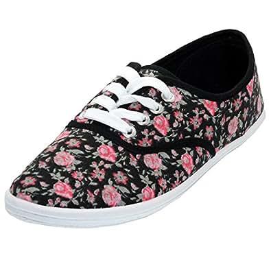 womens black floral print canvas shoes laced
