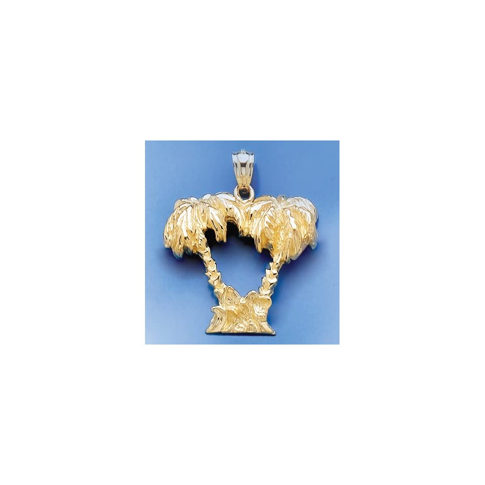 Gold Nautical Charm Pendant Double Palm Tree 2 D