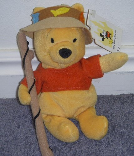 "Disney Lake Resort Fishing 8"" Plush Bean Bag Winnie the Pooh with Tags - 1"