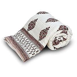 Funda Floral Jaipuri Handblock Little India cama doble blanco
