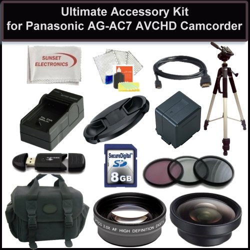 Deluxe Accessory Package For Panasonic AG-AC7 AC7 Shoulder-Mount AVCHD Camcorder