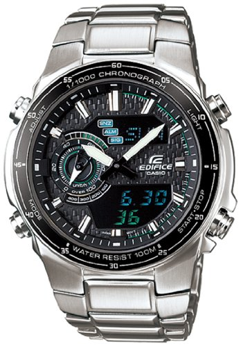 Casio Men's EFA131D-1A2V Silver Stainless-Steel Quartz Watch with Black Dial