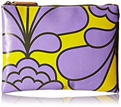 Orla Kiely Damask Flower Printed Tarpaulin Large Zip Wallet, Lilac, One Size