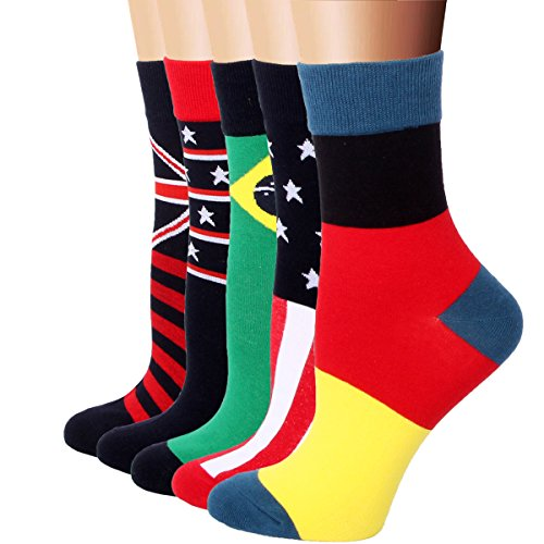 RioRiva Women's Casual Short Crew Socks for Girls Ladies 5 Pack National Flag Pattern,US 5-9/EU 35.5-40,WSK35-flag Women 40 Casual Shorts