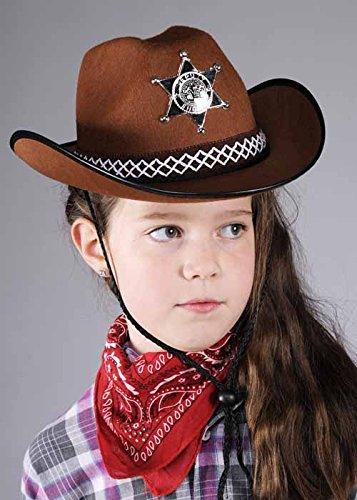 Dimensione dei bambini marrone sceriffo Cowboy Hat