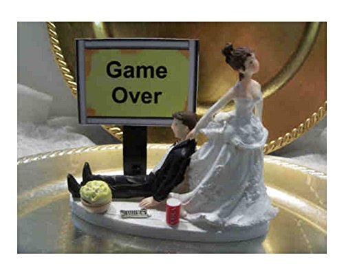 Wedding Cake Topper Computer Laptop Video Game Gamer Gaming Over Groom Funny (YELLOW - video gamer humurous)