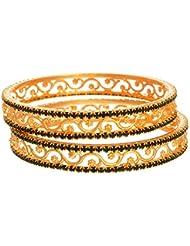 JFL- Austrian Diamond One Gram Gold Plated Designer Bangle Set For Girls And Women.