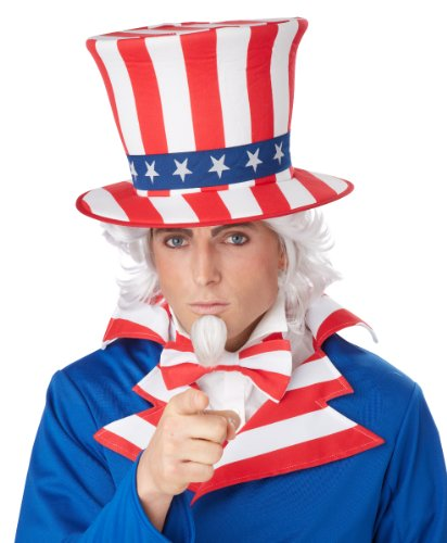 California Costumes Uncle Sam Costume White Wig + Beard Goatee
