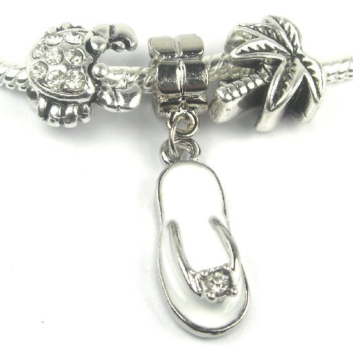 Set of 3 Love Beach Charm for Pandora Chamilia Kay's Troll European Story Charm Bracelets