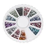 1800pcs 12 Color 1.5mm Nail Art Nailart Manicure Glitter Rhinestones Tips Round Shape Decoration + Wheel