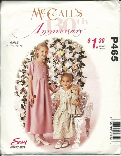 Mccall'S P465 Pattern Girls Dress And Dress For 18 Inch Doll Size 7,8,10,12,14 front-1058372