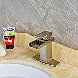 Senlesen Nickel Brushed Waterfall Bathroom Sink Vessel faucet Lavatory Mixer Tap Open Channel Water Spout
