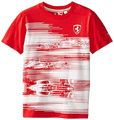 PUMA Big Boys' Ferrari Car Graphic T-Shirt, Rosso Corsa, Medium