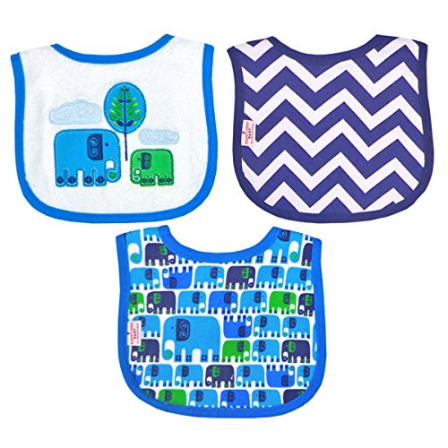 Happy Chic by Jonathan Adler Embroidered, Applique, Print Interlock and Woven Terry Drooler Bib Set, Blue Elephants, 3 Count