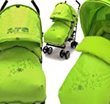 Zeta Vooom Stroller Complete with Foot Muff and Raincover (Lime Hearts and Stars)