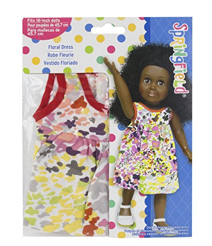 Springfield Collection by Fibre-Craft - Abstract Floral Dress with Red Piping Detail - Fits All 18-Inch Dolls - Mix and Match! - For Ages 4 and Up