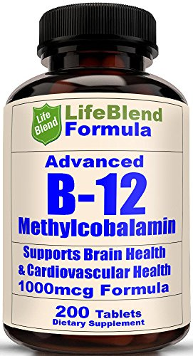 Advanced Vitamin B-12 1000 MCG - Supports Brain Cells & Nervous System - 200 Chewable Tablets - Dissolves in the Mouth (Super Vitamina B12 compare prices)