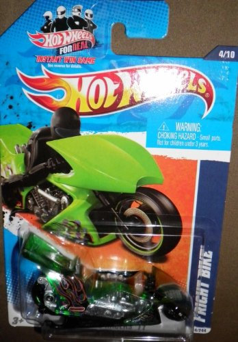HOT WHEELS 2011 HW DRAG RACERS '11 GREEN TRANSPARENT 4/10 FRIGHT BIKE 124/244