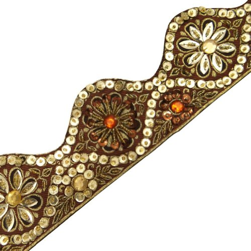 Brown Hand Beaded Trim Cut Work Style Gold Sequin Border Lace Sewing Craft 3 Yd