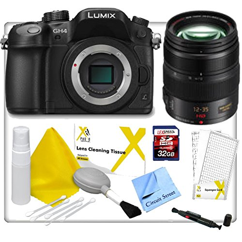 Panasonic Lumix Dmc-Gh4 4K Mirrorless Micro Four Thirds Digital Camera (Body Only), With Panasonic - Lumix G X Vario 12-35Mm F/2.8 Asph. Lens, 32Gb Sd Memory Card, Lcd Screen Protector, Lens Cleaning Pen, Lens Cleaning Kit And Cs Microfiber Cleaning Cloth