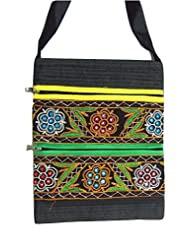 Ethnics Of Kutch Women's Raw Silk Kutch Handicraft Sling Bag With Traditional Ethnic Multi Coloured Handwork And... - B01BTJ97IG