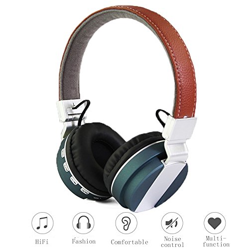 Wireless Bluetooth Over/On Ear Stereo Headphones with NoiseIsolation,HiFi,Microphone Leather Headband,Volume Control,Foldable,Plug 3.5 mm,Metal Design (Turbine Sound Module compare prices)
