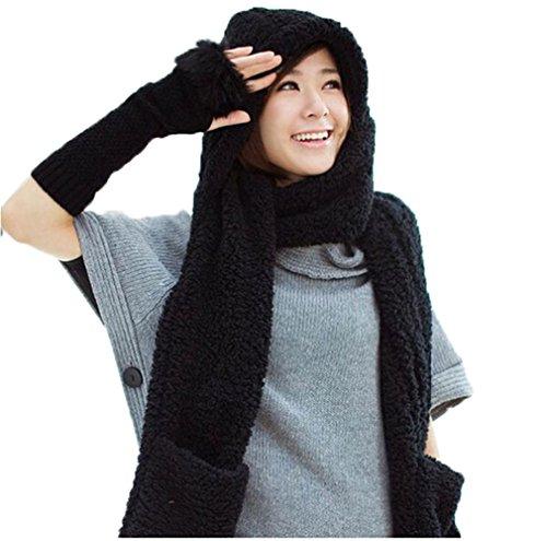 Inverno Donna Caldi Con Cappuccio Guanti Pocket Earflap lunghi Cappello Sciarpa Scialle Snood Involucri Di Stile Coreano Hat Sciarpa Guanti (nero)
