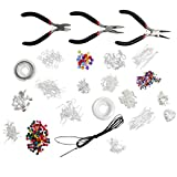 Deluxe Large Jewellery Making Starter Kit - Pliers, Findings, Beads, Cord, Tiger Tail, Silver Plated Accessories Plus Free Jewellery Making E-book! by Kurtzy TM