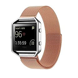 Fitbit Blaze Replacement Band, DAYJOY Premium Stainless Steel Watch Strap Adjustbable Bracelet Band with Magnet Lock for Fitbit Blaze(Small Size,ROSE GOLD)