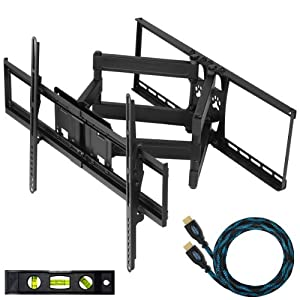 """Cheetah Mounts APDAM2B Articulating Dual Arm TV Wall Mount Bracket with Full Motion Tilt and Swivel for 32-65"""" LCD, LED, Plasma, Flat Screen Monitors and Displays Up to VESA 684x400 and 165lbs, Including a Free Twisted Veins 10' HDMI Cable and 6"""" Level"""