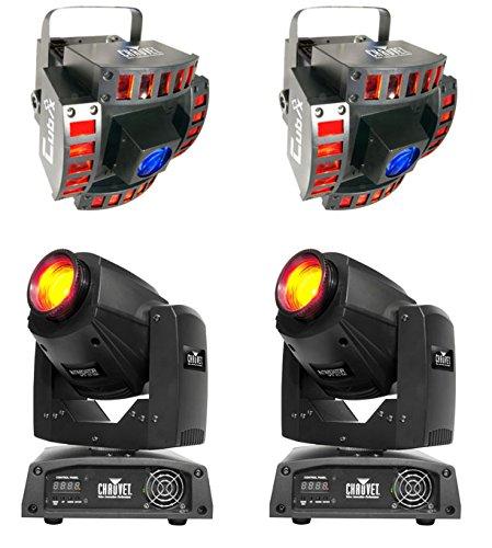 2 Chauvet Intimidator Spot 250 Led Dmx Moving Yoke Dj Lights + 2 Cubix Lights