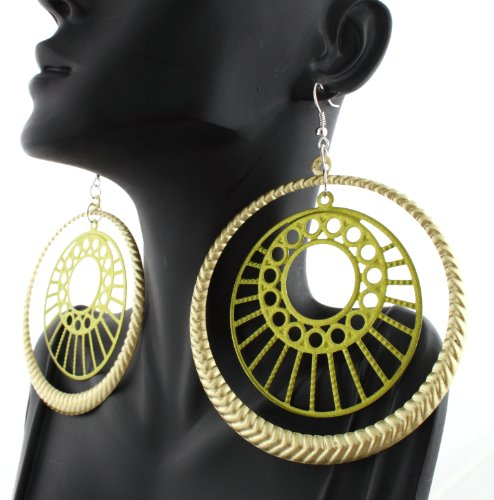 Ladies Green Metallic Double Circle 4 Inch Dangle Earrings