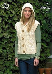 Knitting Pattern Ladies Gilet : King Cole Ladies Jacket & Gilet Merino Chunky Knitting Pattern 3301: Amaz...