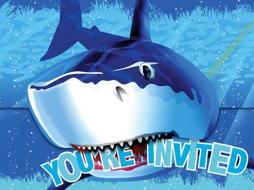 Creative Converting Shark Splash Birthday Party Invitations, 8 Count